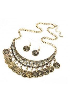 Conjunto collar y pendientes de zamak dorado o plateado, ETNIA