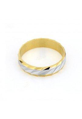 Alianza labrada en oro goldfilled 18 K bicolor