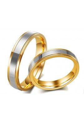 Alianza acero y oro, modelo estrecho (4 mm)