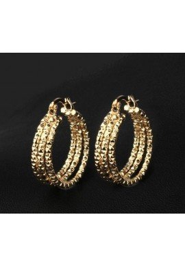 PENDIENTES AROS TRIPLES, ORO GOLDFILLED 18 K