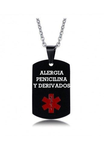 COLGANTE PLACA MÉDICA, ALÉRGICOS, ALZHEIMER