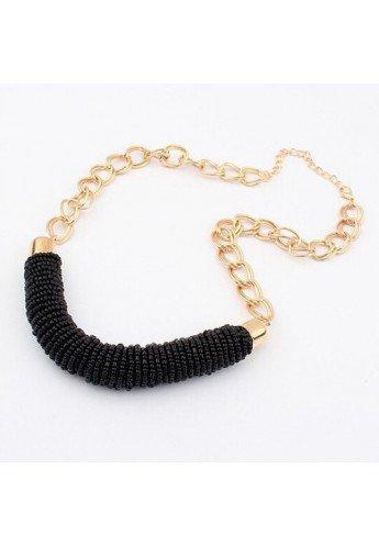 Collar gargantilla de zamak dorado con pieza de rocalla negra, ETNIA