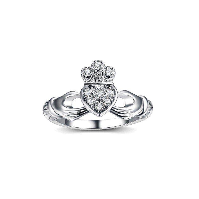 compre los más vendidos descuento de venta caliente acogedor fresco anillo claddagh oro blanco